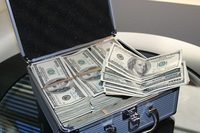 kufřík a dolary