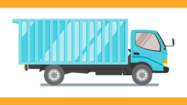 modrý kreslený kamion